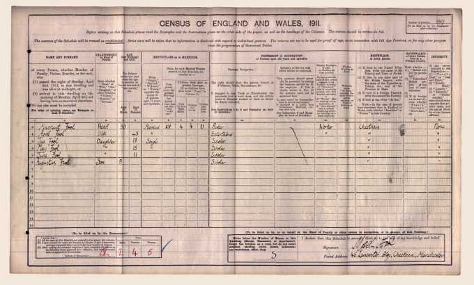 Image of April Fool's 1911 Census record
